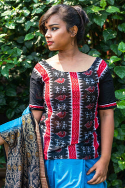 Black Tribals and Ducks Top (Blouse)