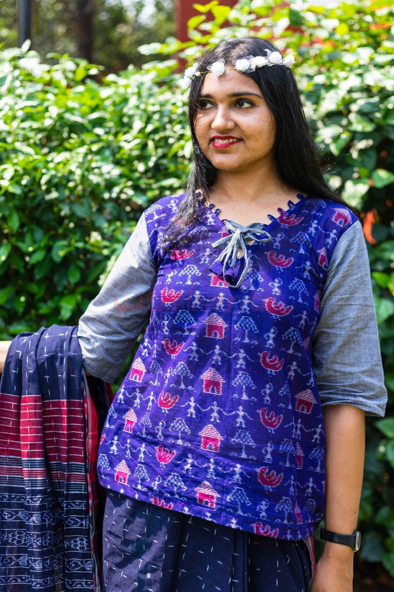 Blue Tribals and Ducks Top (Blouse)