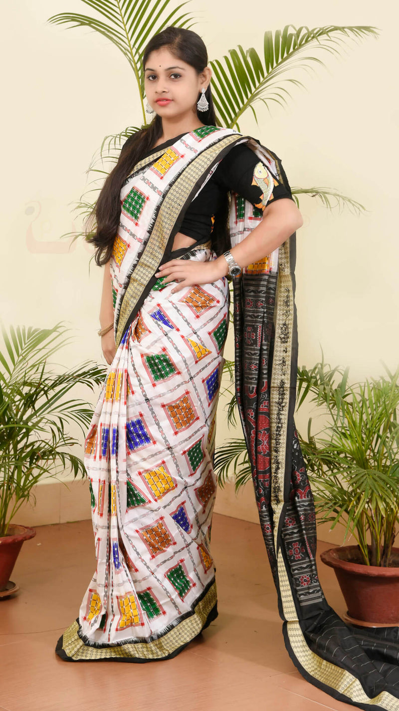 Aswini White Black Silk