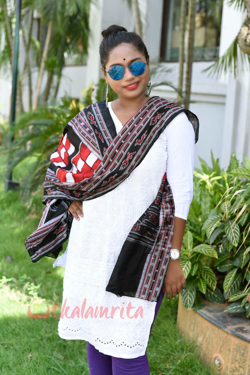 Red Black White Pasapali Dupatta
