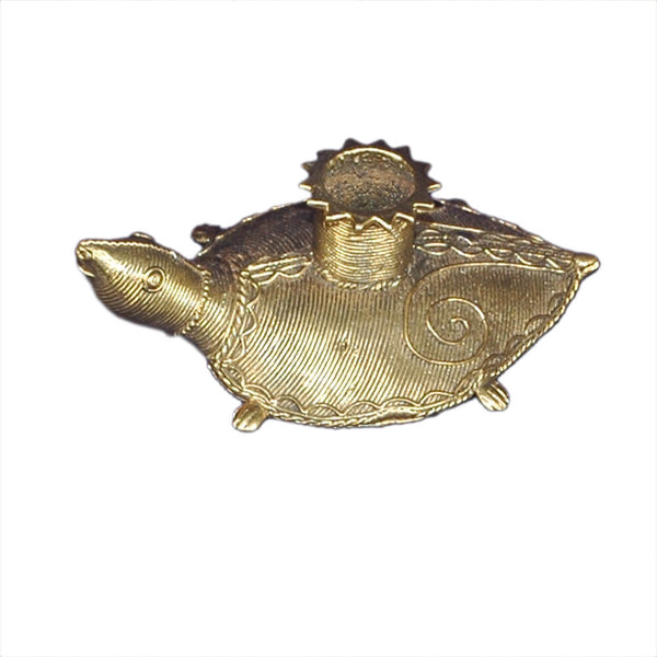 Turtle Dhokra Candle Stand
