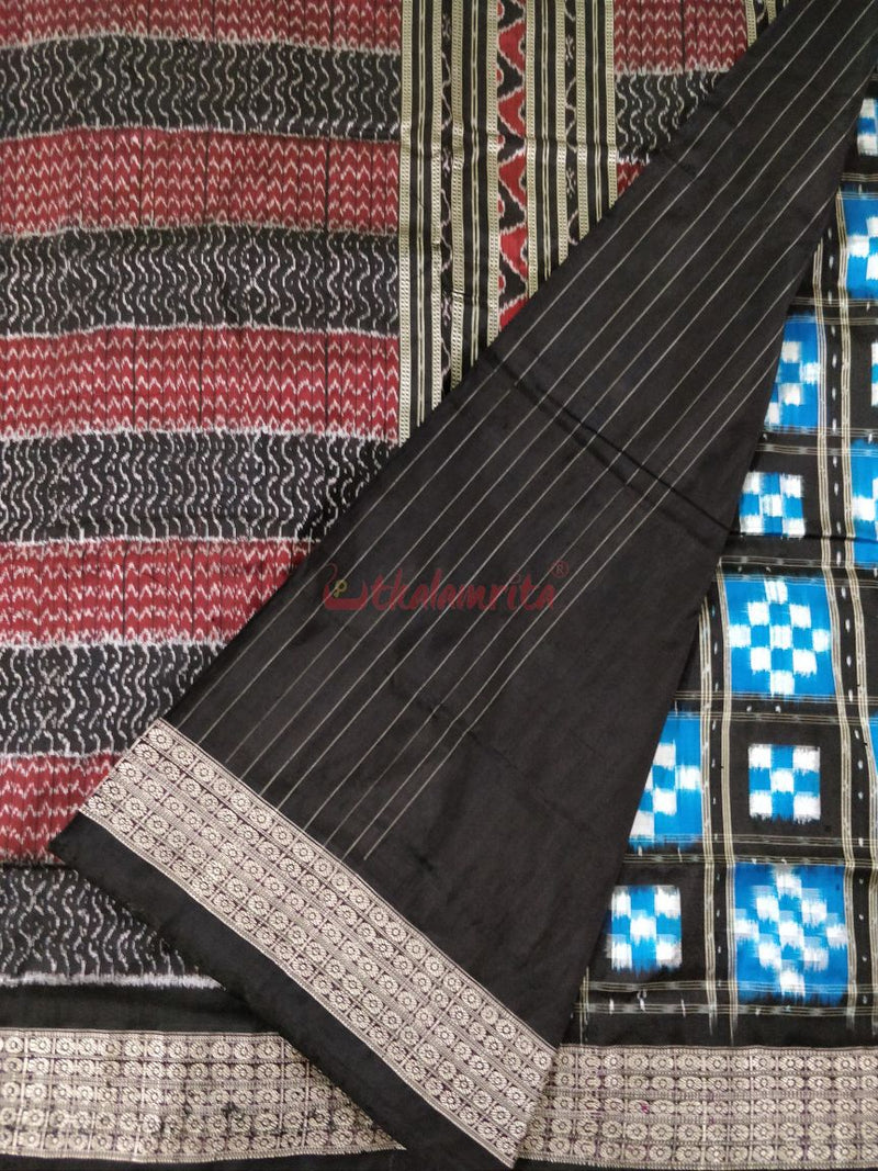 15 Kuthi Blue Black Pasapali Silk Saree