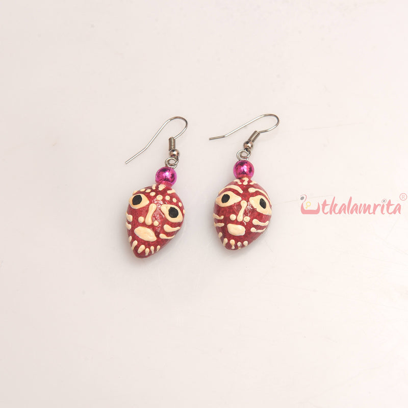 Maroon Tribal Face Earrings