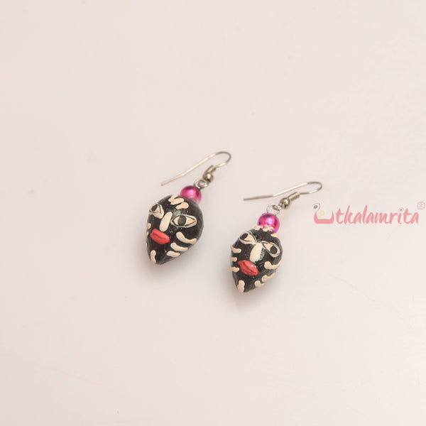 Black Tribal Face Earrings