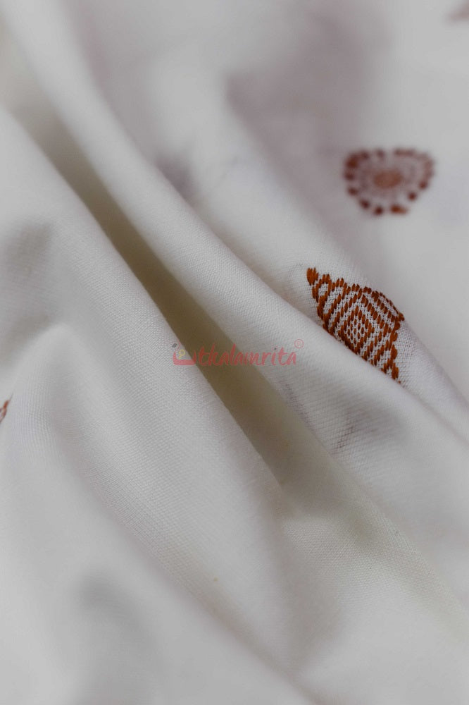 Bomkai White with Brown Butis (Fabric)