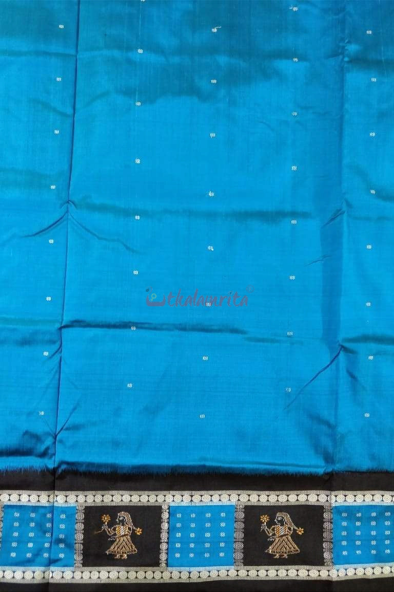 Blue Doll Border Silk