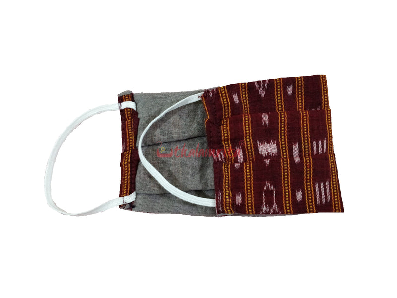 Maroon Ikat 2-Layer Mask