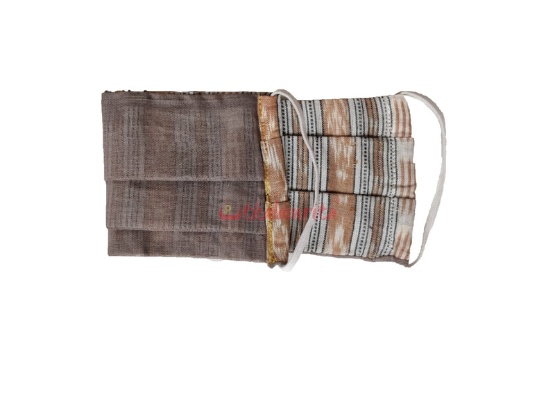 White Brown Ikat 2-Layer Mask