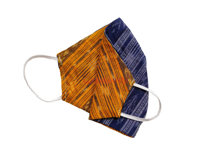 Yellow and Blue Ikat Mask