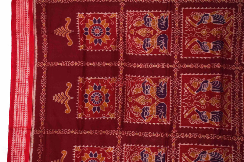 Brundabati Maroon Red Saree