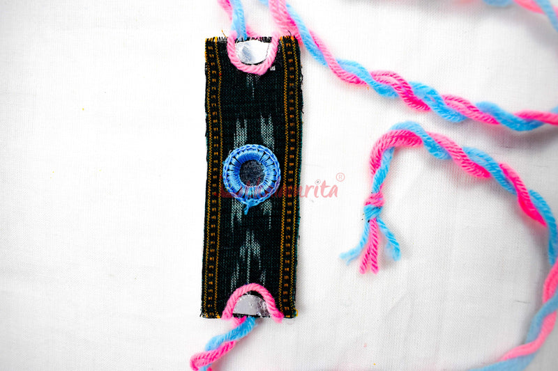 Black Ikat Rectangular Rakhi