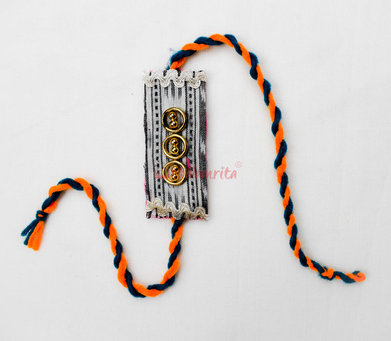 White Ikat Ring Rakhi
