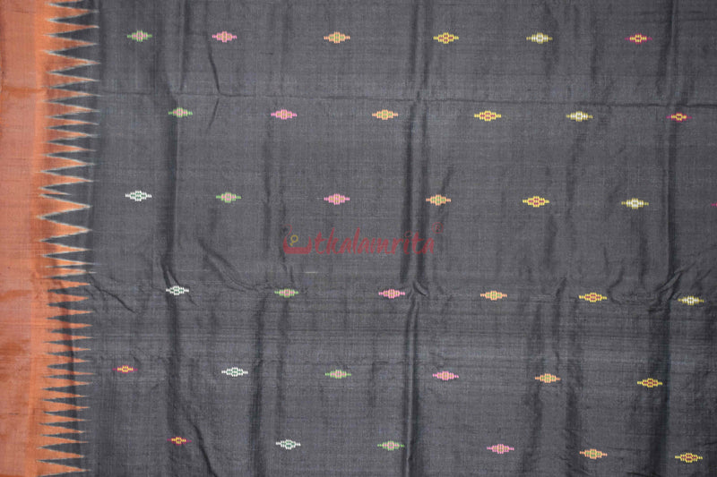Peacock Design Heavy Work Black Saree