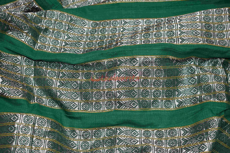5 Silver Fish Lines on Green(Fabric)
