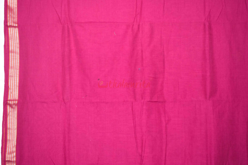 Deep Pink with Rudraksha Border  (Fabric)