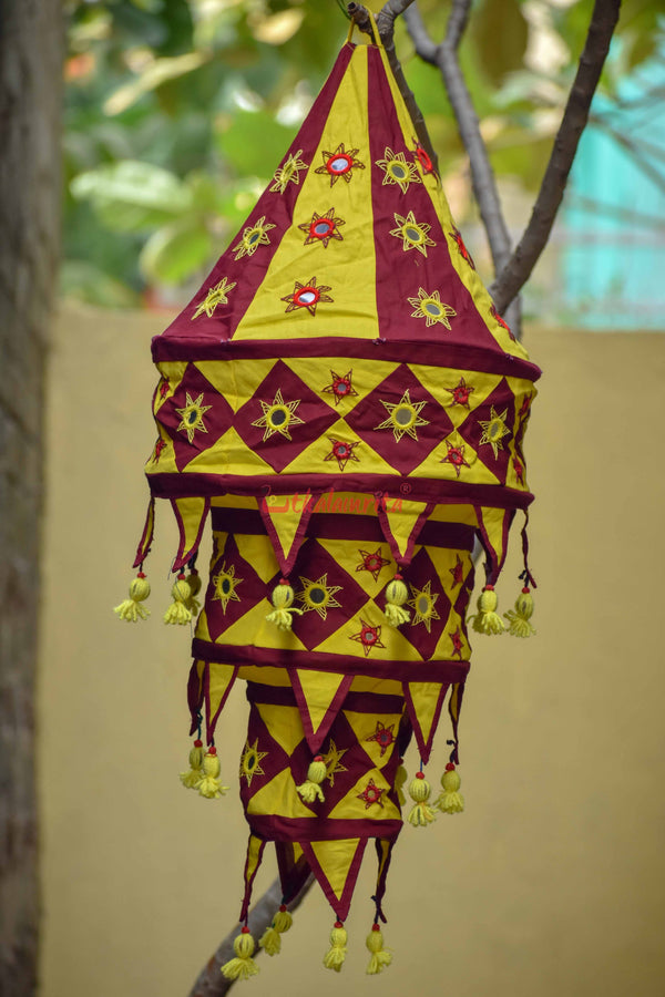 Maroon Yellow Special 3-Step Round Lampshade