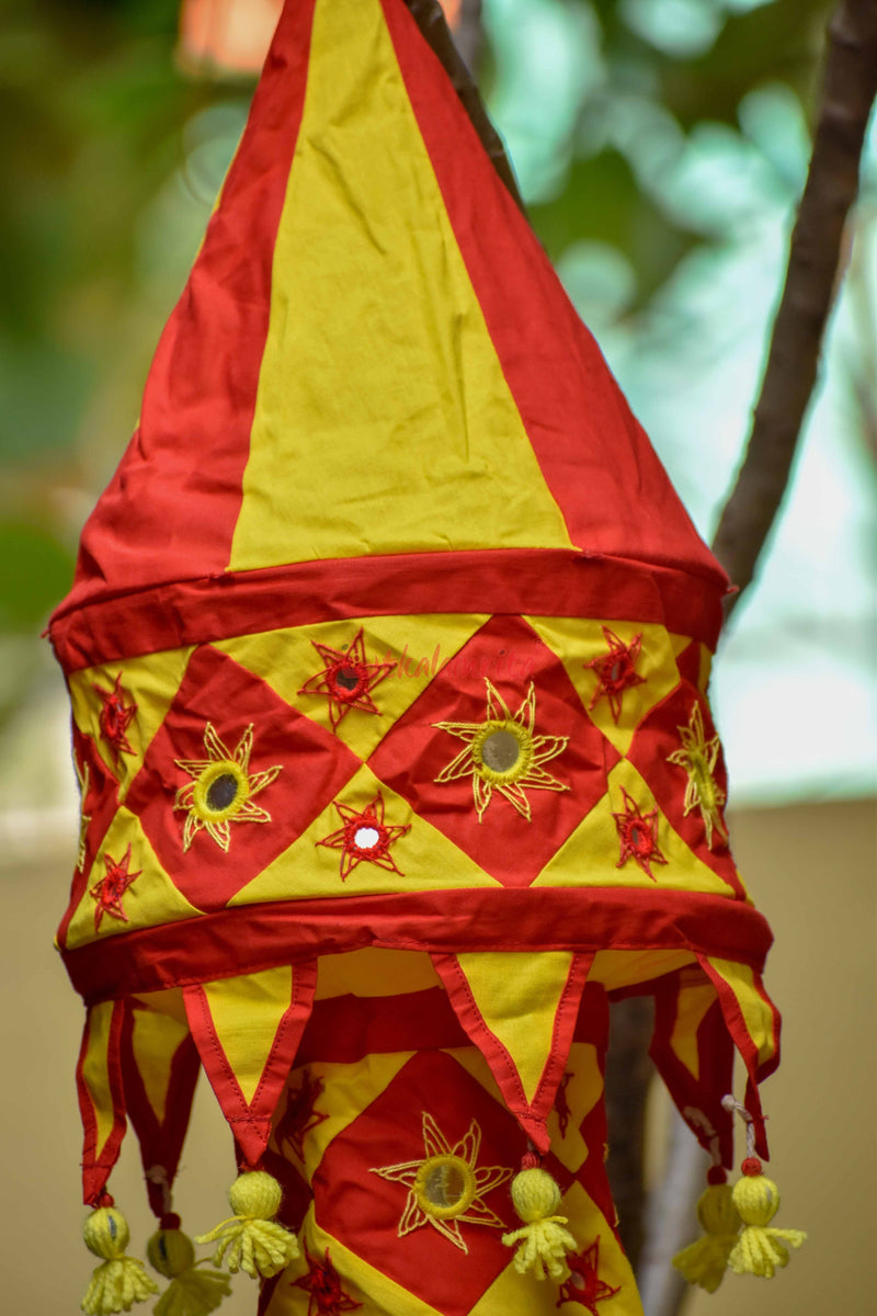 Red Yellow Simple 2-Step Round Lampshade
