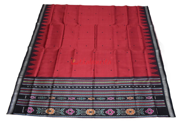 Red Black Berhampuri Double Anchal