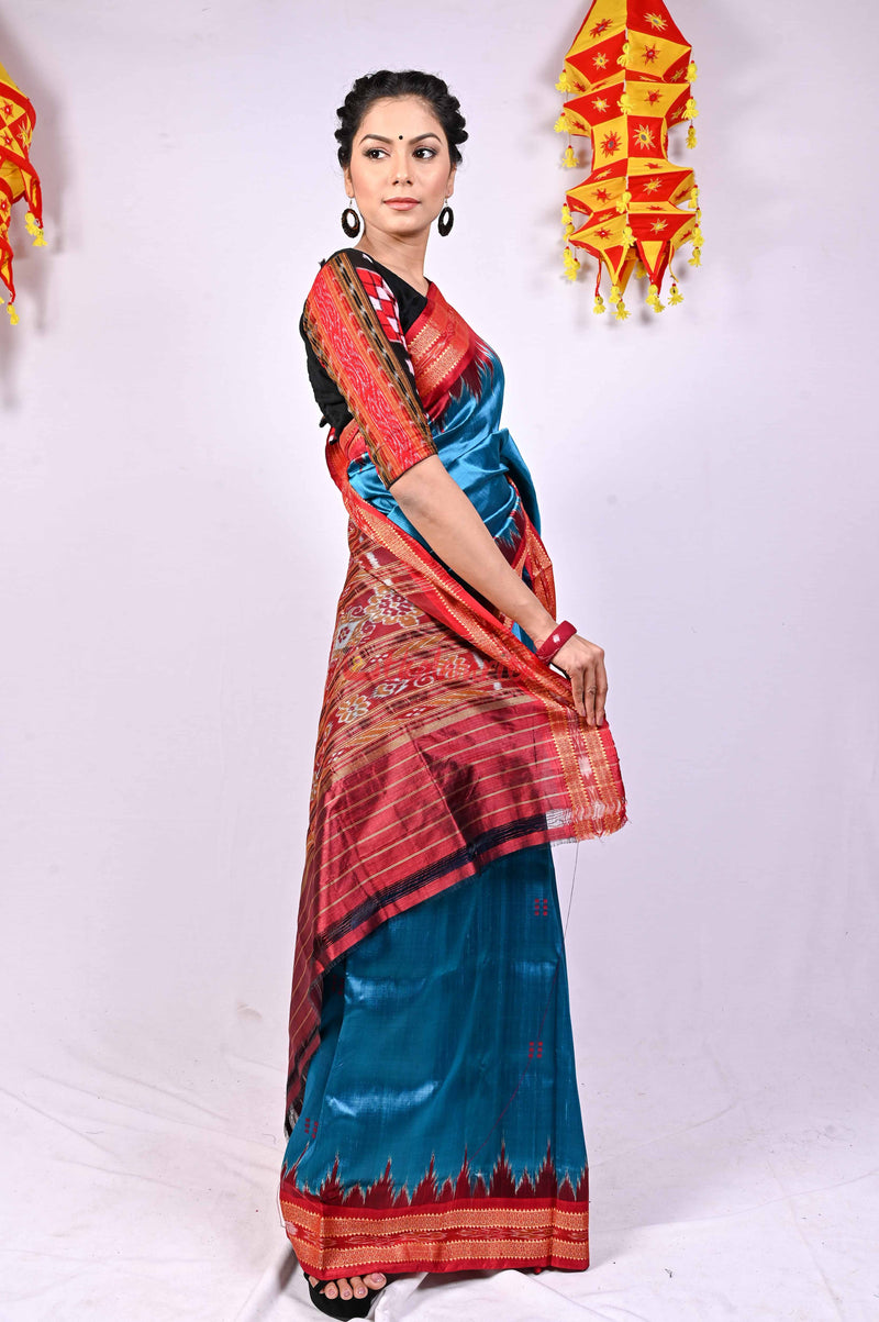 Blue Red Khandua Silk