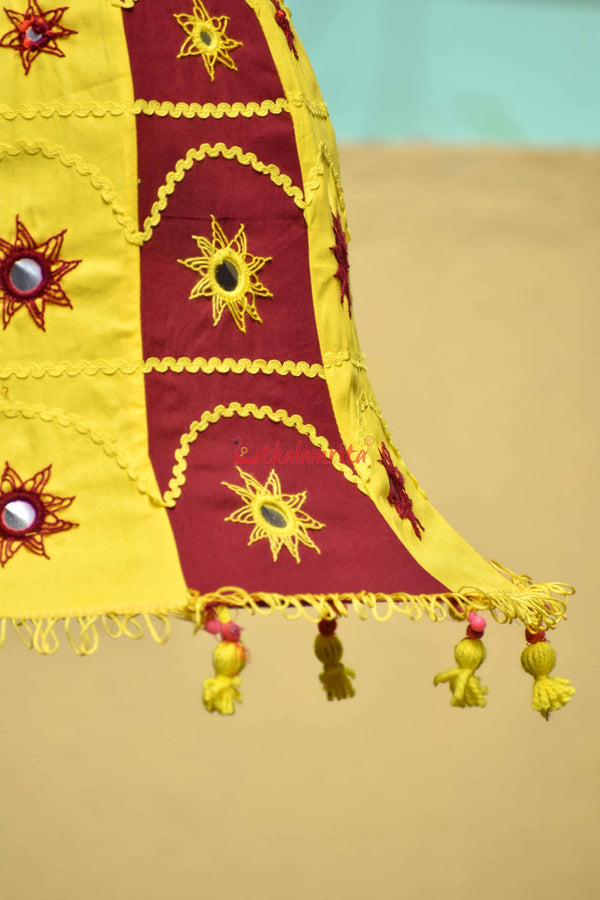Maroon Yellow Bell Lampshade