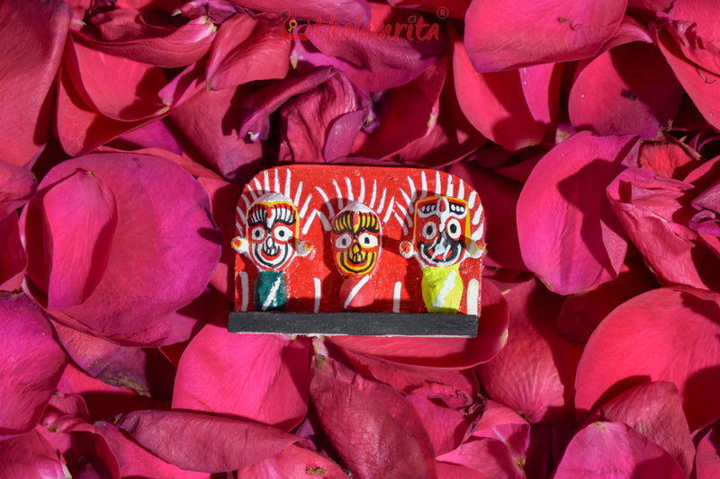 Tiny Wooden Lord Jagannath, Balabhadra, Subhadra Showpiece