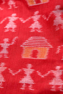 Red Tribals and Huts (Fabric)