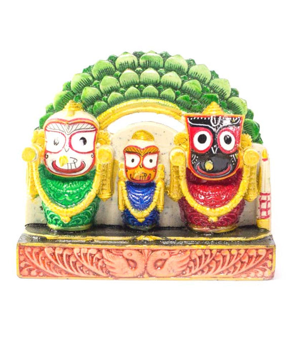 Utkalamrita Exquisite Lord Jagannath, Balabhadra, Subhadra Showpiece Prabha Green