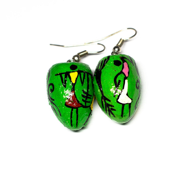 Bright-Green BetelNut Earrings with Multi-color Tribal Paintings of Women at Work