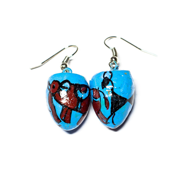 Blue BetelNut Earrings with Elephant and Deer