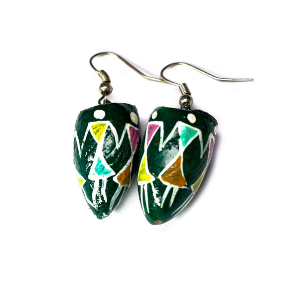 Dark-Green BetelNut Earrings with Tribal Paintings of Women holding Hands