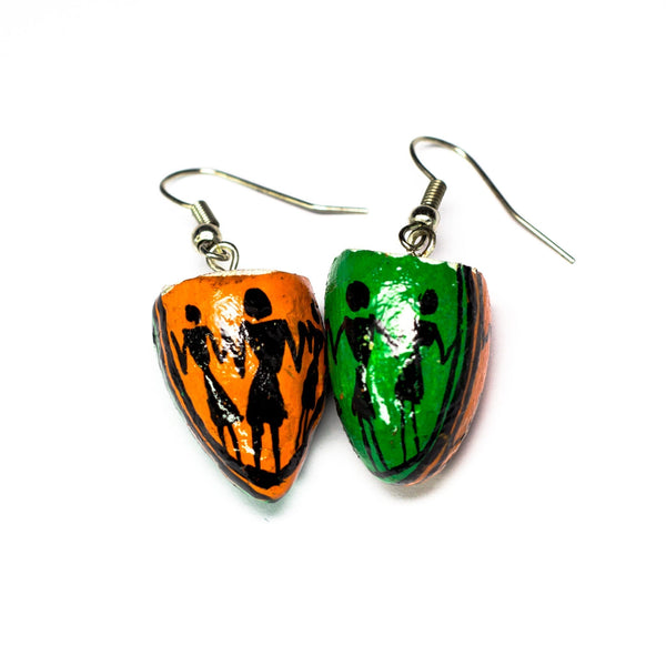 Orange & Green BetelNut Earrings with Tribal Paintings of Women in Black