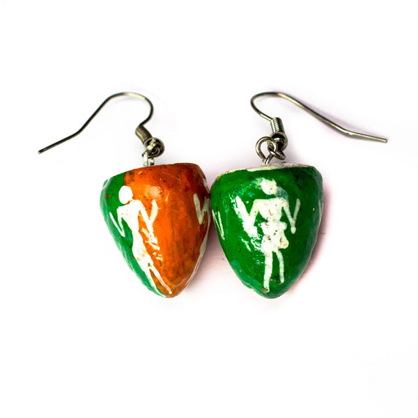 Orange & Green BetelNut Earings with Tribal Paintings of Women in White