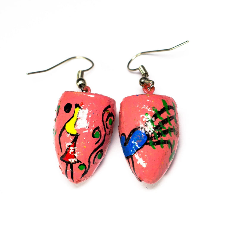 Pink BetelNut Earrings with Peacock & Lady Tribal Paintings