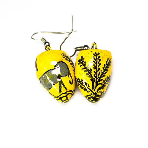 Yellow BetelNut Earrings with Elephant & Deer Tribal Paintings