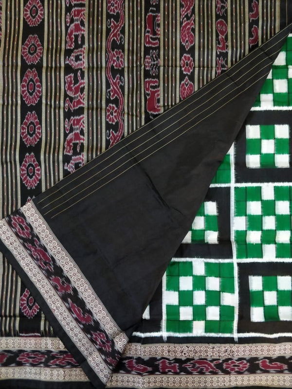 Utkalamrita 7 Kuthi Black and Green Pasapalli Silk Saree