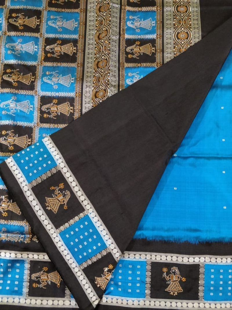 Utkalamrita Blue Doll Border Silk Saree