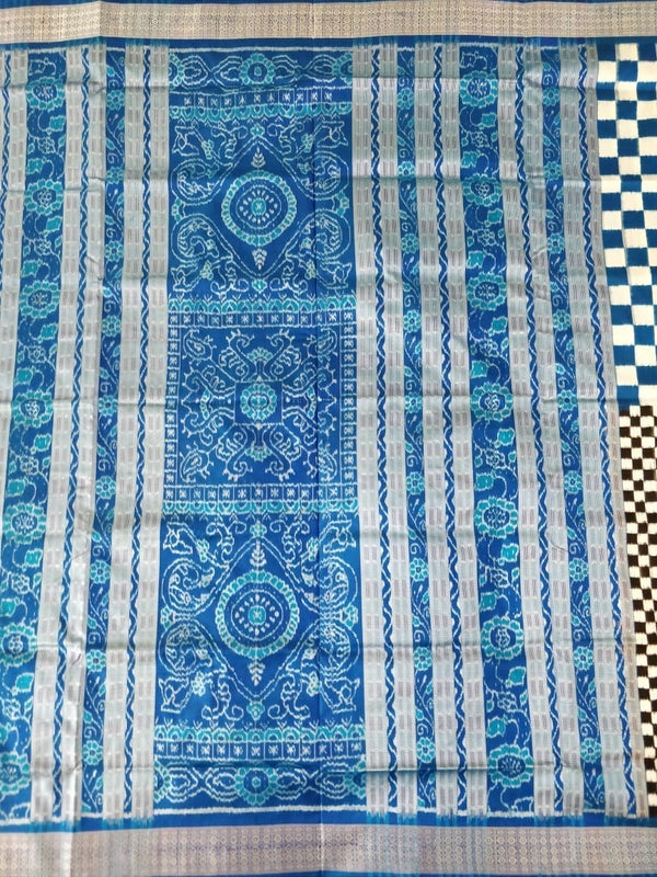Utkalamrita Half Half Blue Black Check Pasapalli Silk Saree