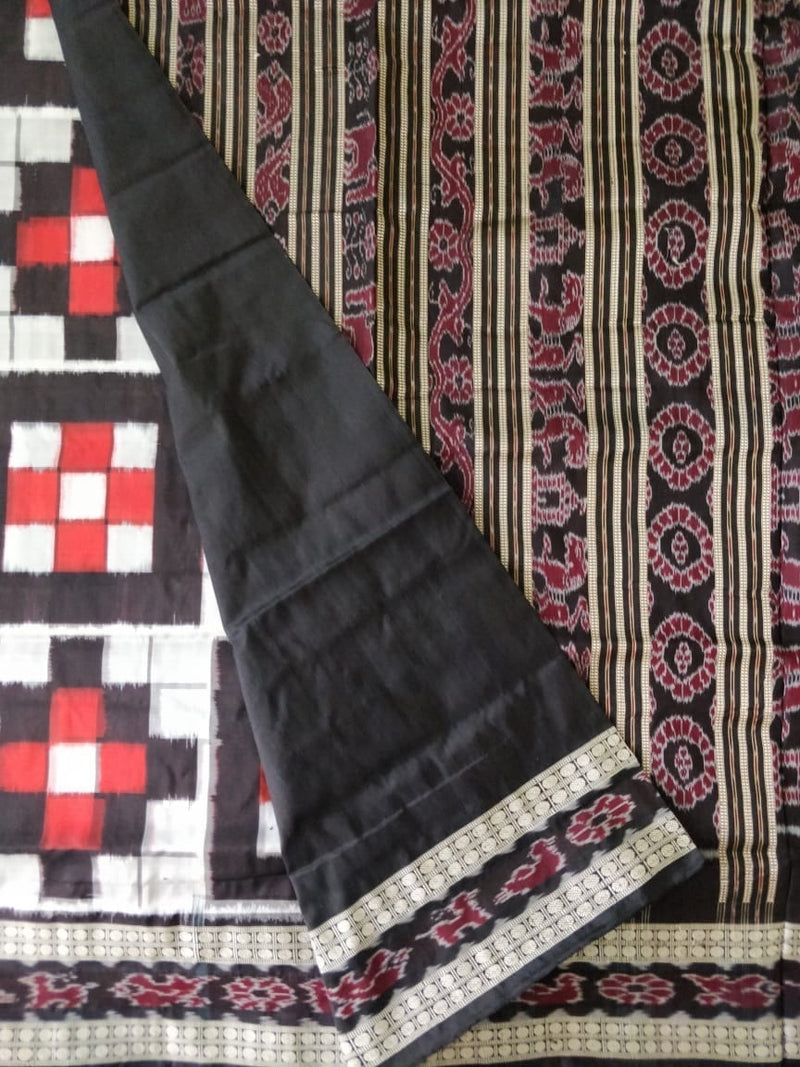 Contrast 7 Kuthi Red Black White Silk Saree
