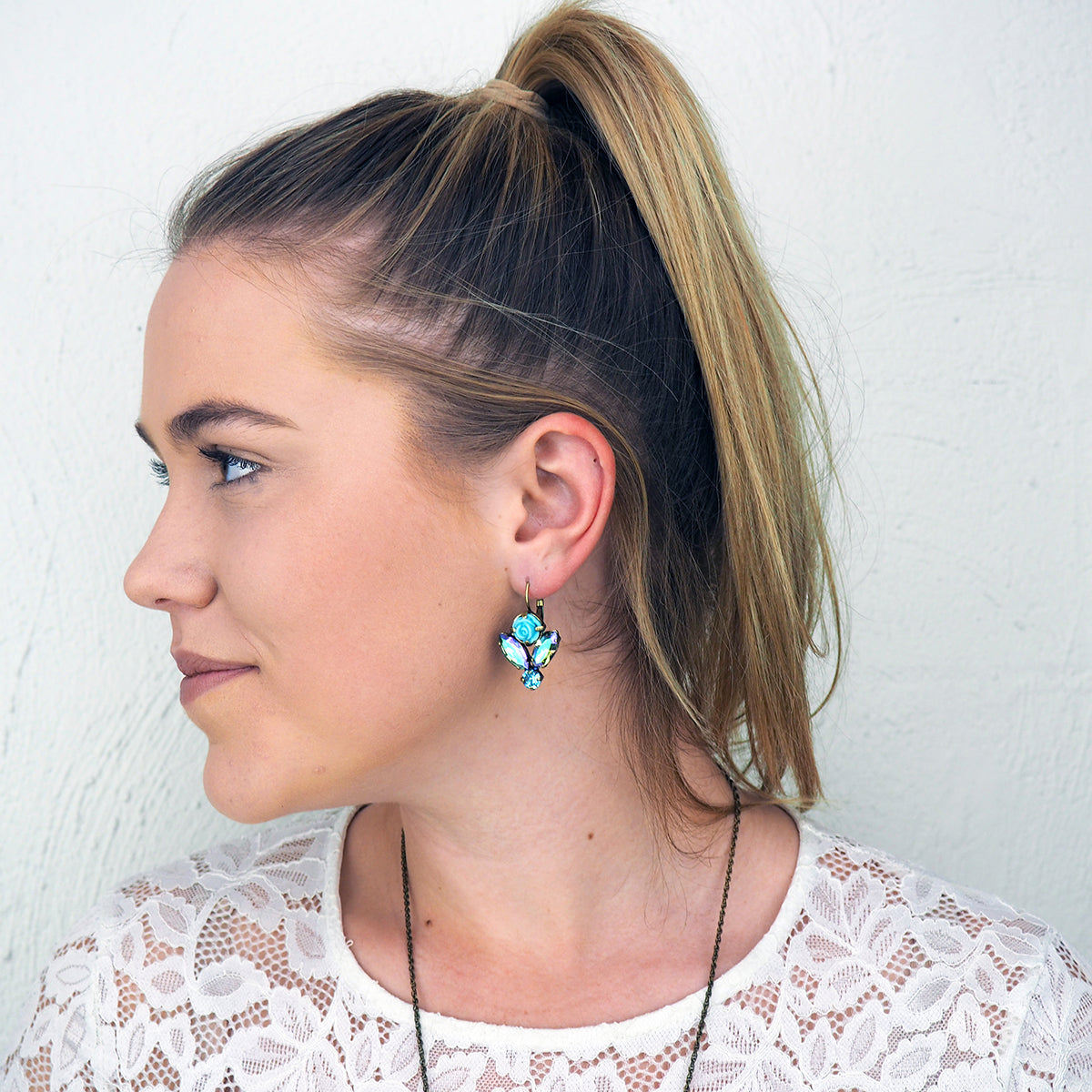 Blooming Beauty Earrings - Aqua