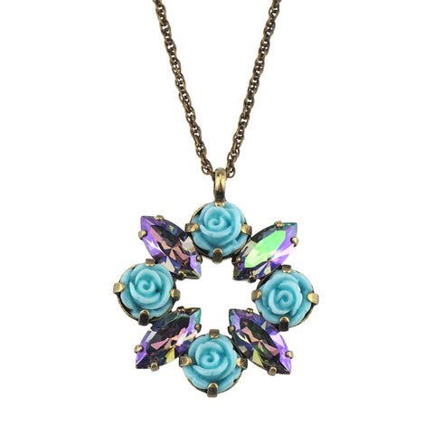 Cosmic Kiss Necklace - Peach/Turquoise