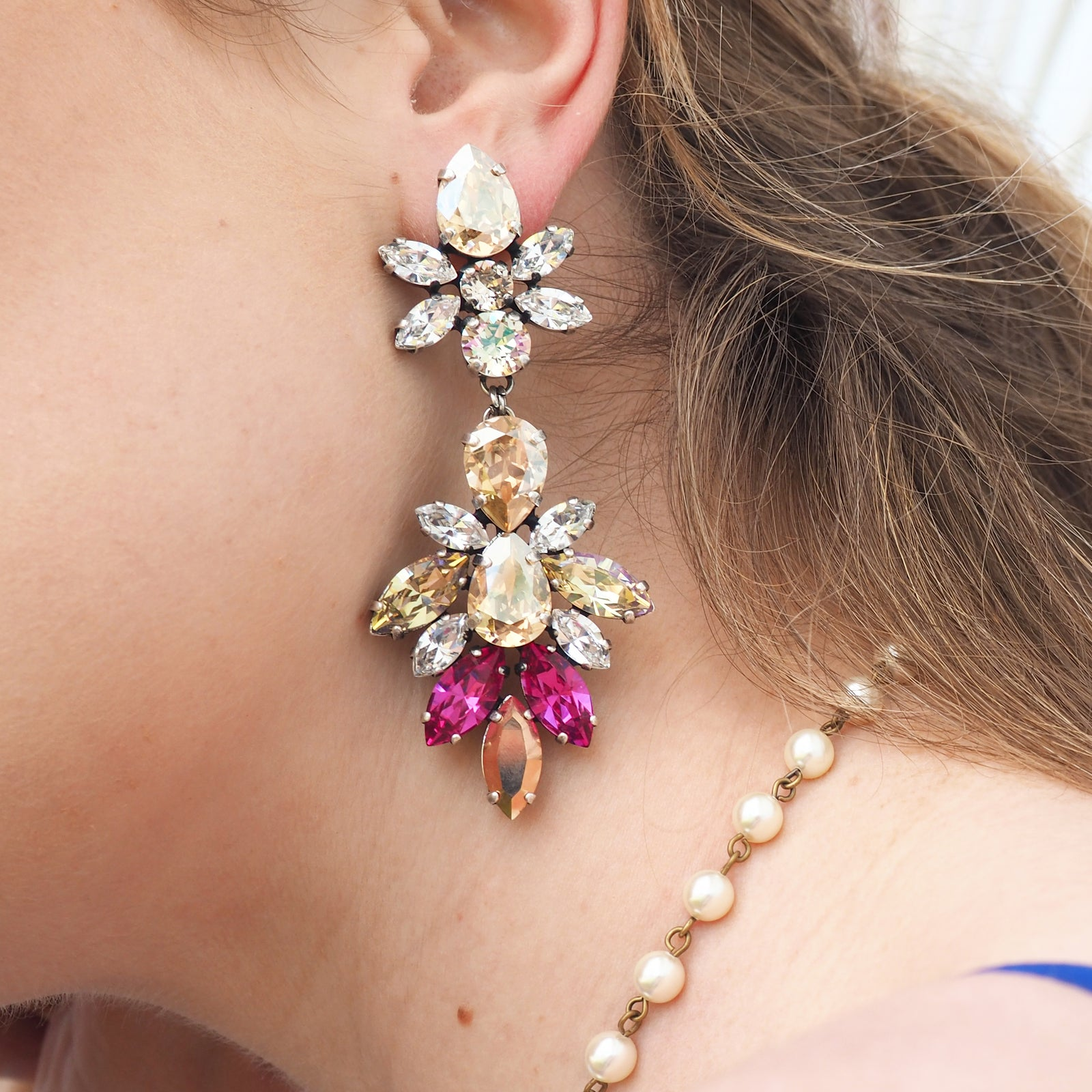 Falling Stars Earrings - Fuschia