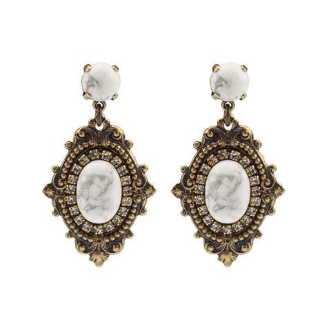 Vintage Vibes Earrings - White Howlite