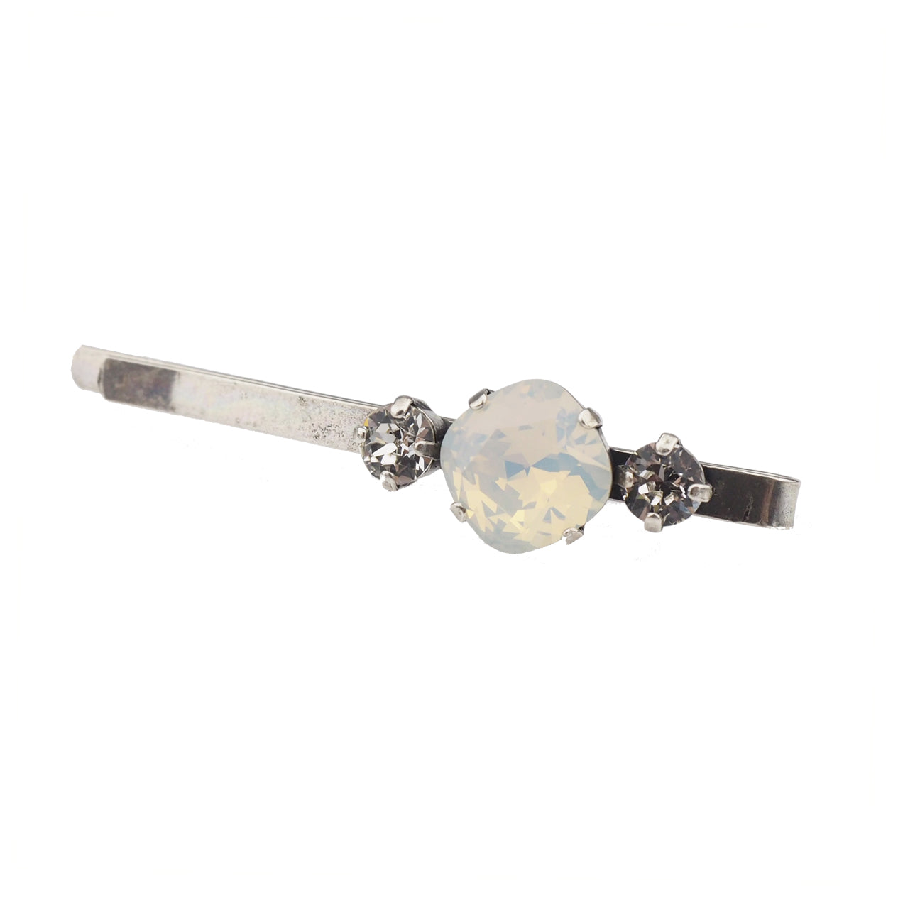 Solitaire Hair slide - White Opal