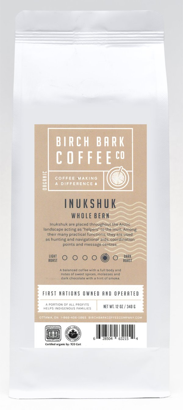 Birch Bark Coffee Beans - Inukshuk - Medium/Dark Roast (12oz)