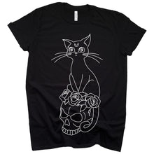 Load image into Gallery viewer, Cat and skull t-shirt