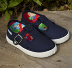 Load image into Gallery viewer, Angelitos T Bar Canvas Shoes - Navy