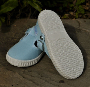 Angelitos T Bar Canvas Shoes - Light Blue