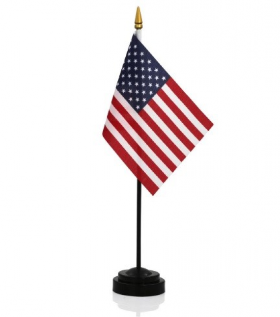 "American made 4"" x 6"" Desk Flag with base"