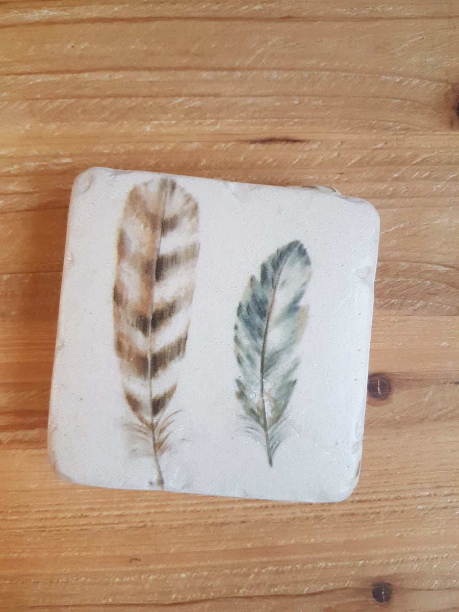 French Country Feather Coasters
