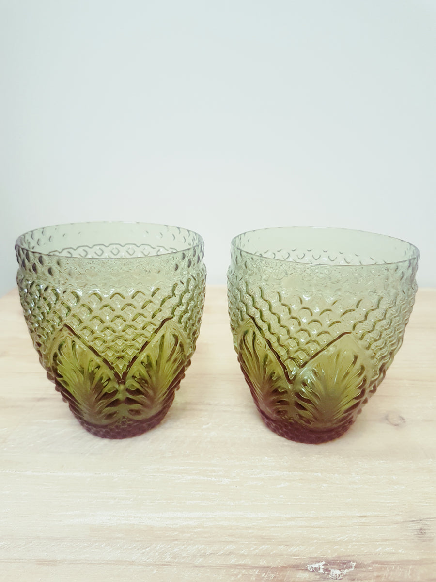 French Country Vintage Green Glasses